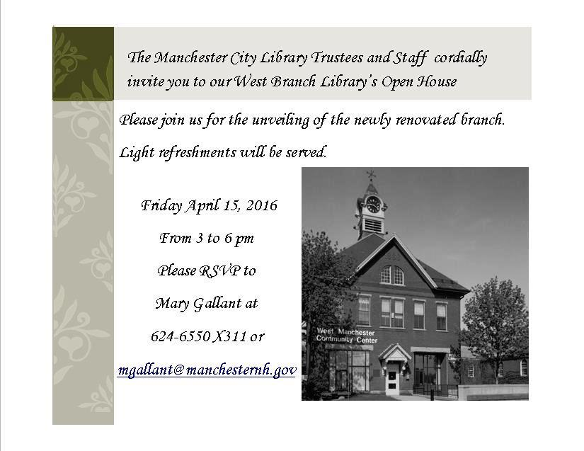 an invitation to our west branch library open house