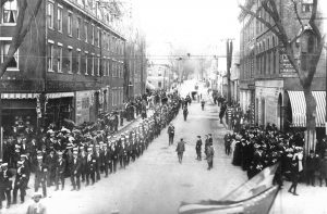 parade photo from 1918, possibly Armistice Day